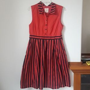 ModCloth XL Coral Red and Navy Striped Dress